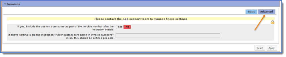 Figure 6: The Advanced tab may only be changed by iLab.