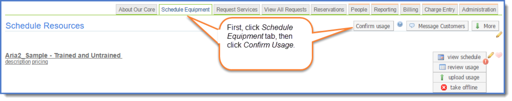 Figure 1 : Access Confirm Usage tool.