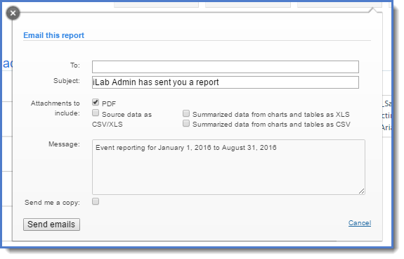 Figure 9: Email a report.