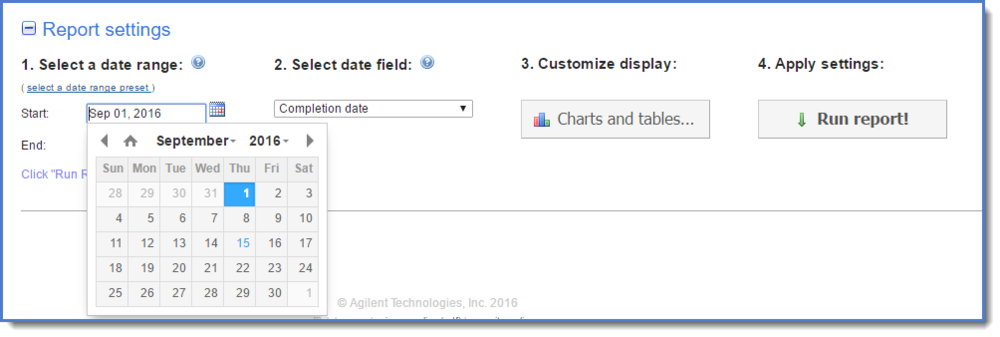 Figure 3 : Select a date range.
