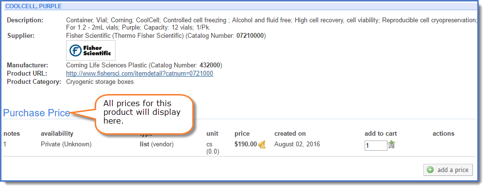 Figure 4:  Click on the product or  see prices  to view prices.