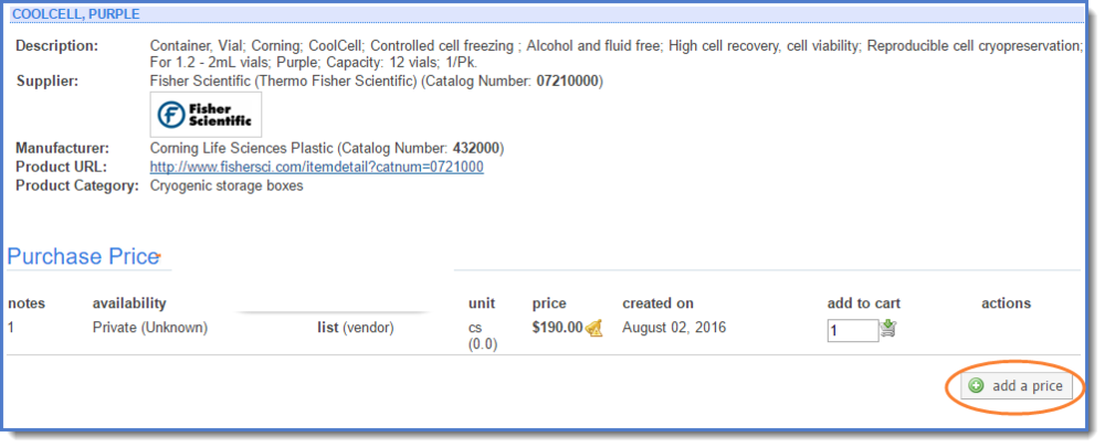 Figure 7: Add a price from the product detail page.