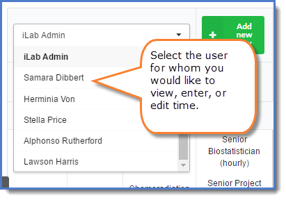 Figure 2: Select the appropriate user.