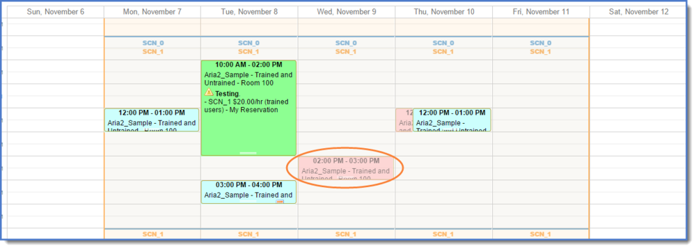 Figure 7: Canceled reservation now displays in translucent red.