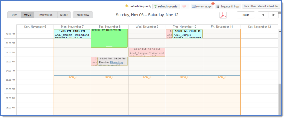 Figure 2: Click on the resource to access the calendar.