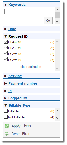 Figure 3: Filter the search results.