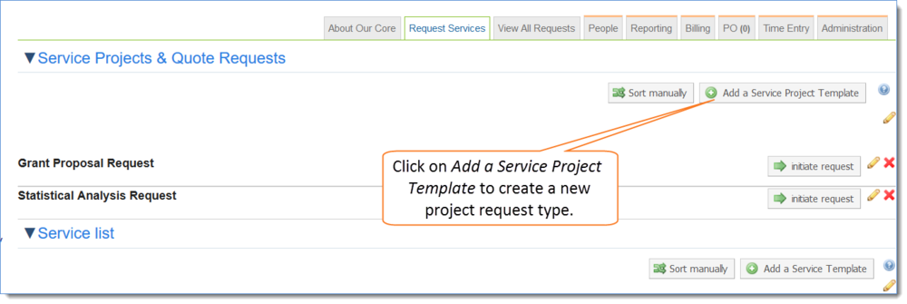 Figure 1: Create a new service project template