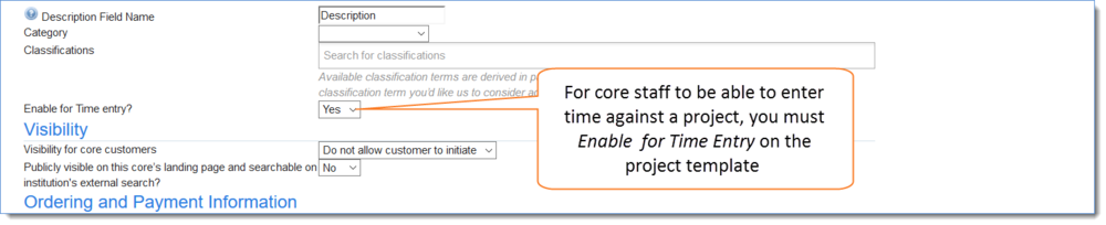 Figure 2: Enable Time Entry on the project template