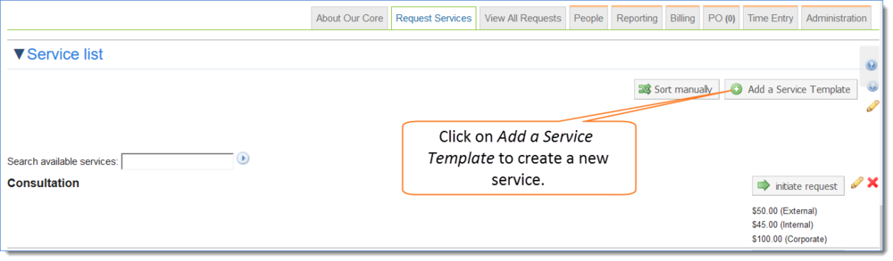 Figure 3: Click on Add a Service Template to create a new service
