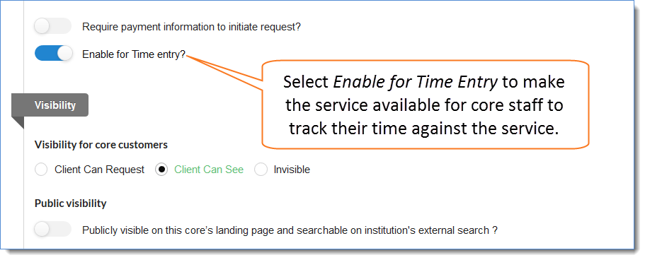 Figure 4: Select Enable for Time Entry