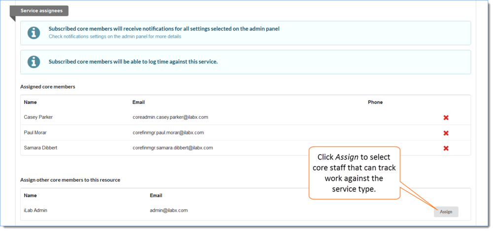 Figure 5: Click on Assign to the right of the staff to add them to the Service assignees list.