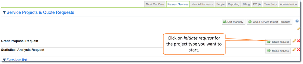 Figure 1: Click on initiate request to select the project you want to start