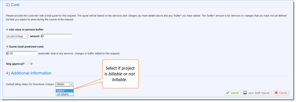 Figure 2: Select if the project is billable or not billable, then submit.