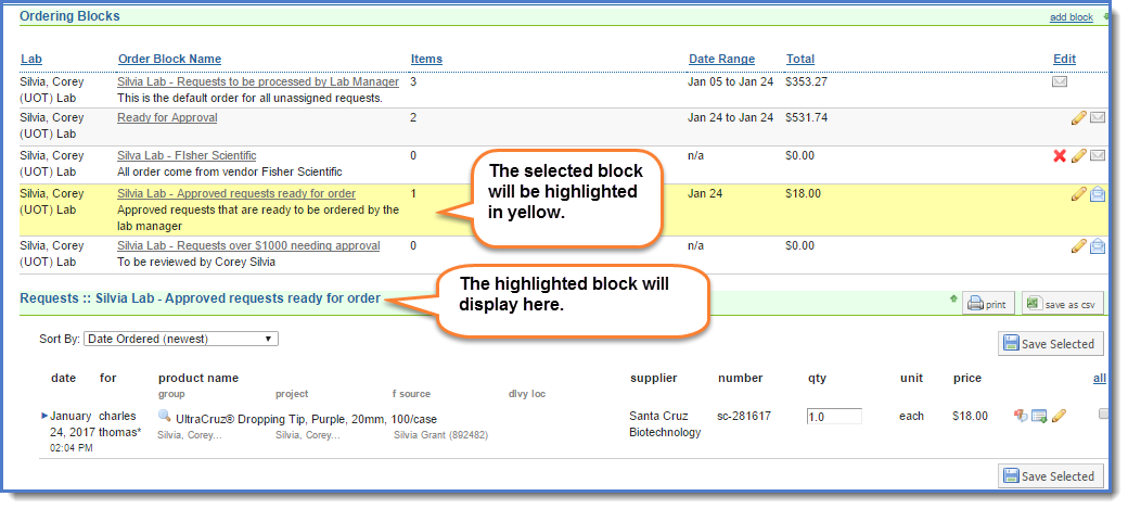 Figure 2:  Your order blocks will display at the top of the screen.