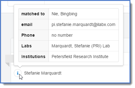 Figure 10: view additional author information for iLab users.