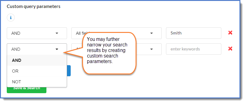 Figure 6: Add custom search parameters.