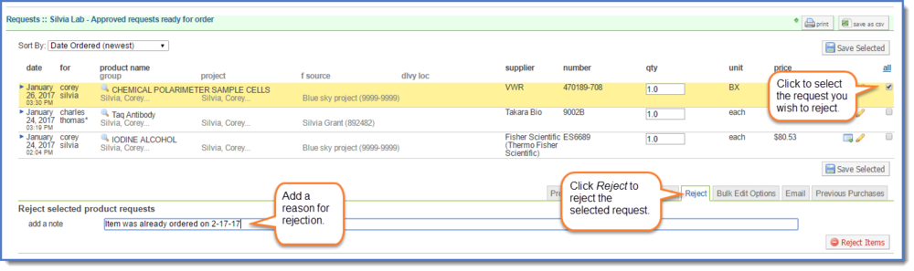 Figure 7:  Select the request to reject, then click  Reject.