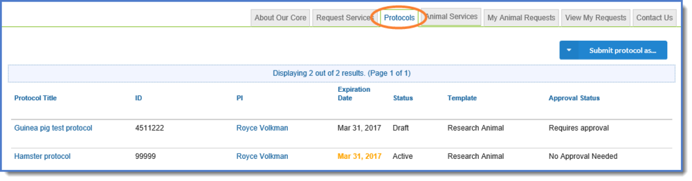 Figure 3:  Click on the  Protocols  tab.