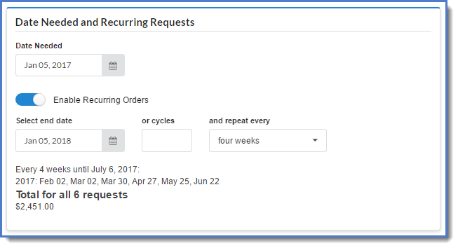 Figure 8:  Designating a request as recurring