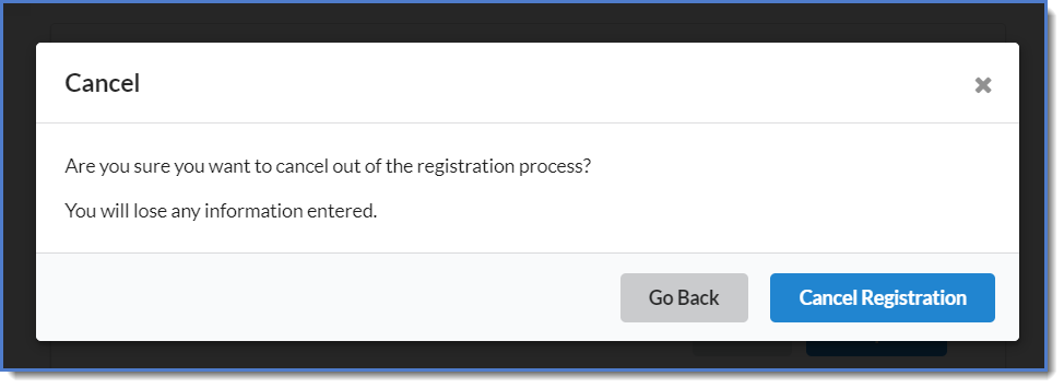 Figure 5 : Cancelling registration.