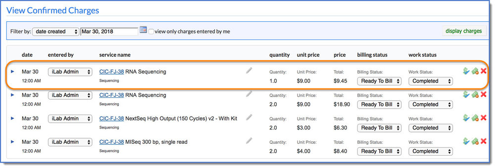 Figure 6 : Your charge now displays in  Confirmed Charges.