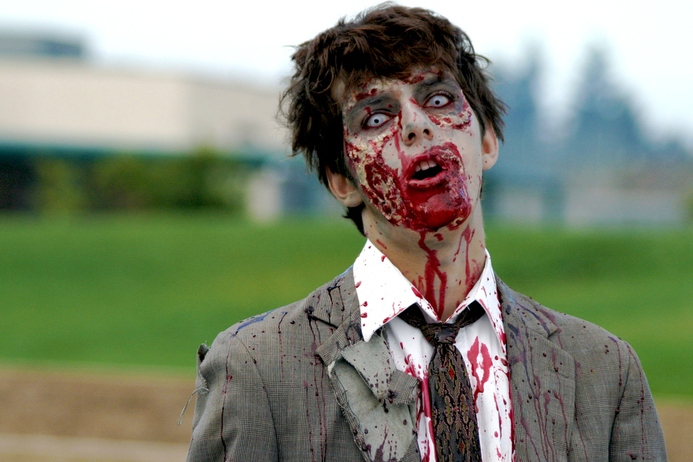 "This photo, ""Zombie!"" is copyright 2004 Daniel Hollister and made available under a  Creative Commons Attribution 2.0 Generic licence."