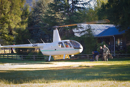 CEDAR LODGE-NEW ZEALAND: With helicopter service every day, guests are flown to remote world class rivers