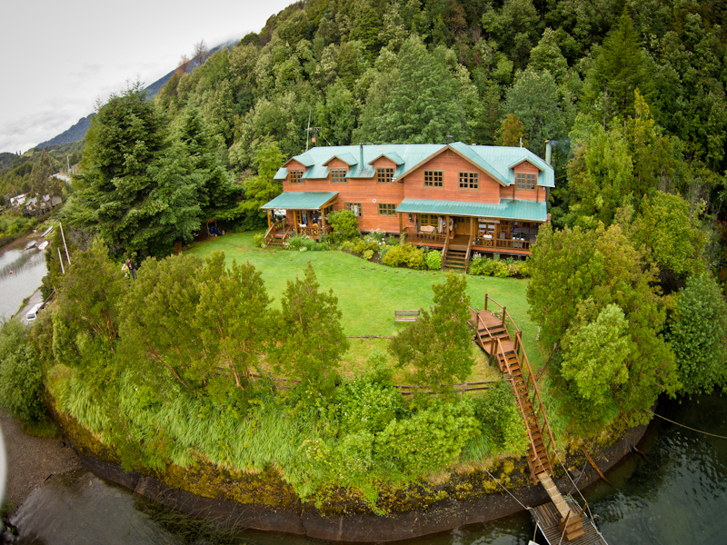 Drone shot of Yelcho Lodge.