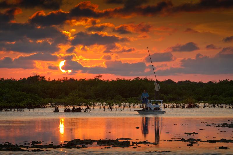 Abeautiful sunset on a bonefish flat.