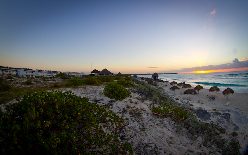 Sunrise over the beach at the Sol Club Cayo Largo.