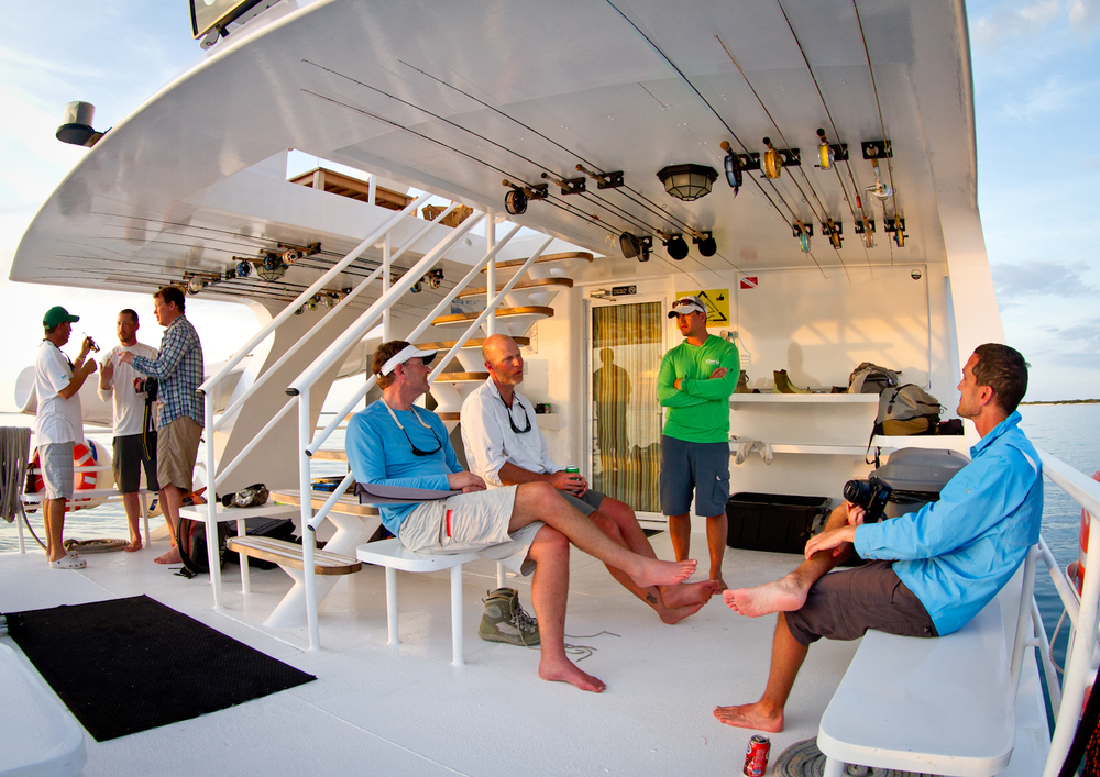 Anglers compare notes after the days fishing on Avalon Fleet ll