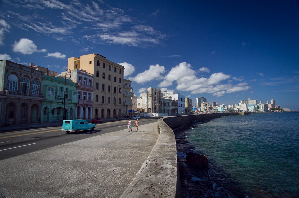 This is the famous Malecon, stretching along the Havana waterfront. At night, this area is alive with hordes of young people.