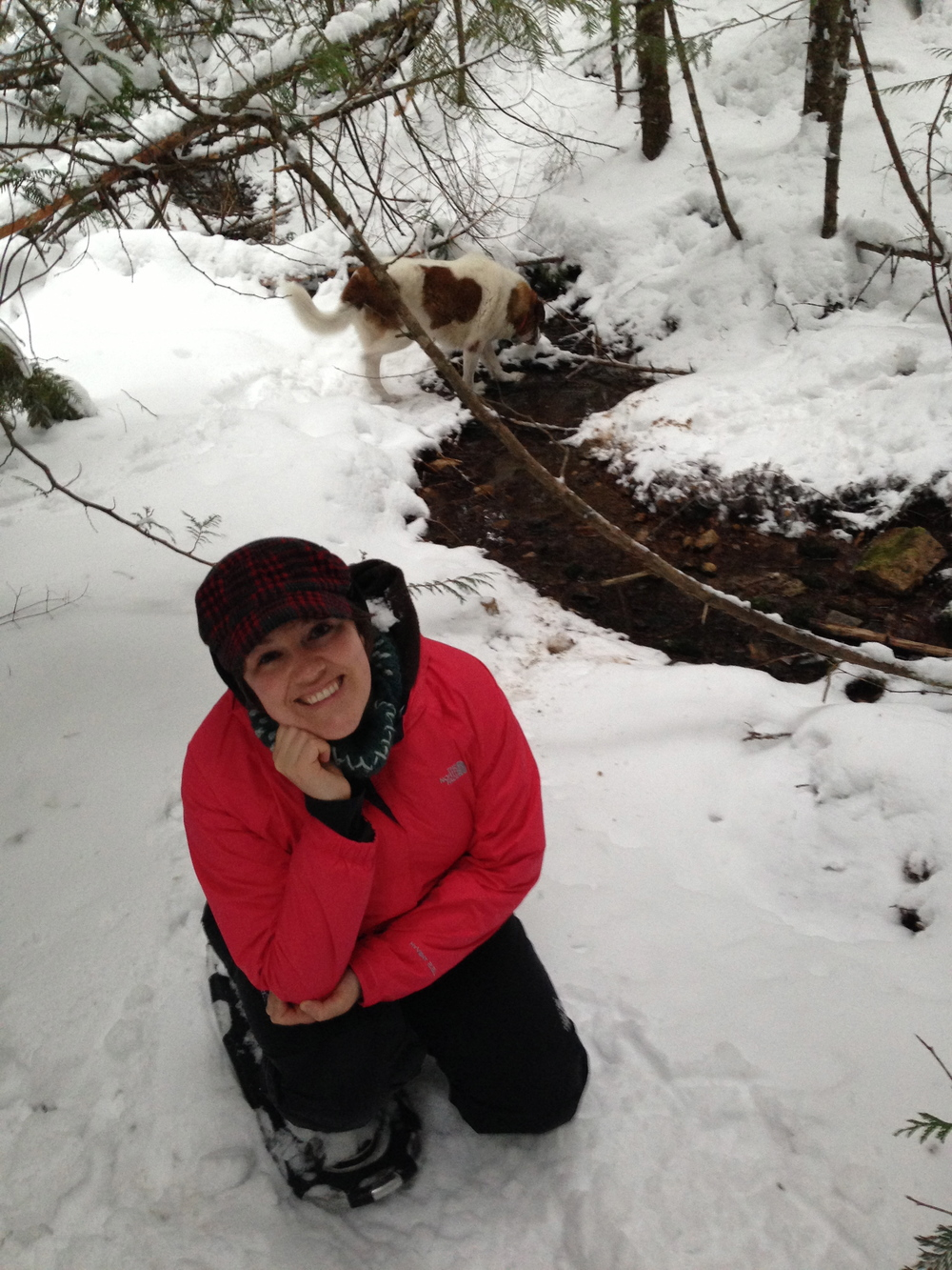 Jill snowshoeing near her home in Potlatch, Idaho with Woody the dog.