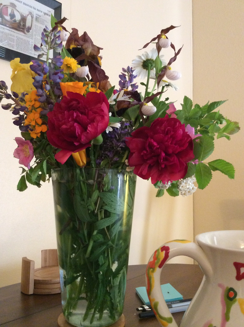Hand-picked bouquet at The Feel Good Business office.  4 June 2014.  Peonies, Lupine, Mountain Lady's Slipper, Iris, and more.  Thank you!