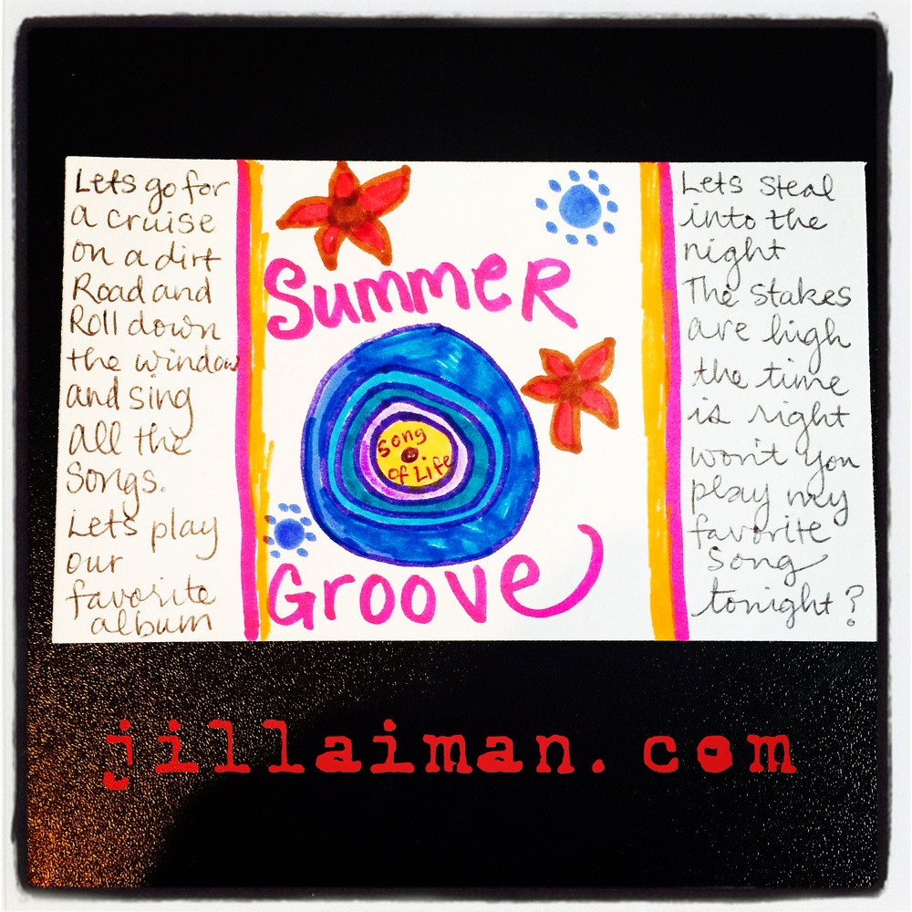 """Index card art. """"Summer Groove"""" by Jill Lawrence. 27 June 2014. The creative prompt that inspired me was """"album cover."""""""