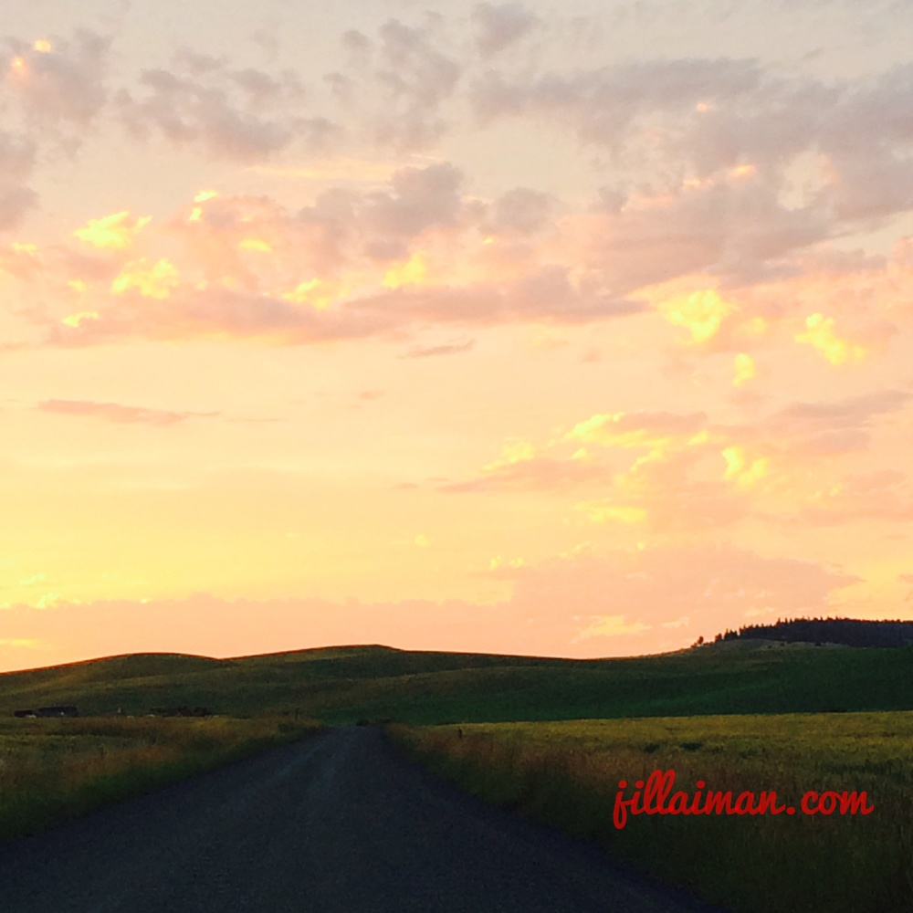 Jill drives home on the back-roads. Music blaring and happy to see the summer-time sunset. Outskirts of Potlatch, Idaho. 2 July 2014.