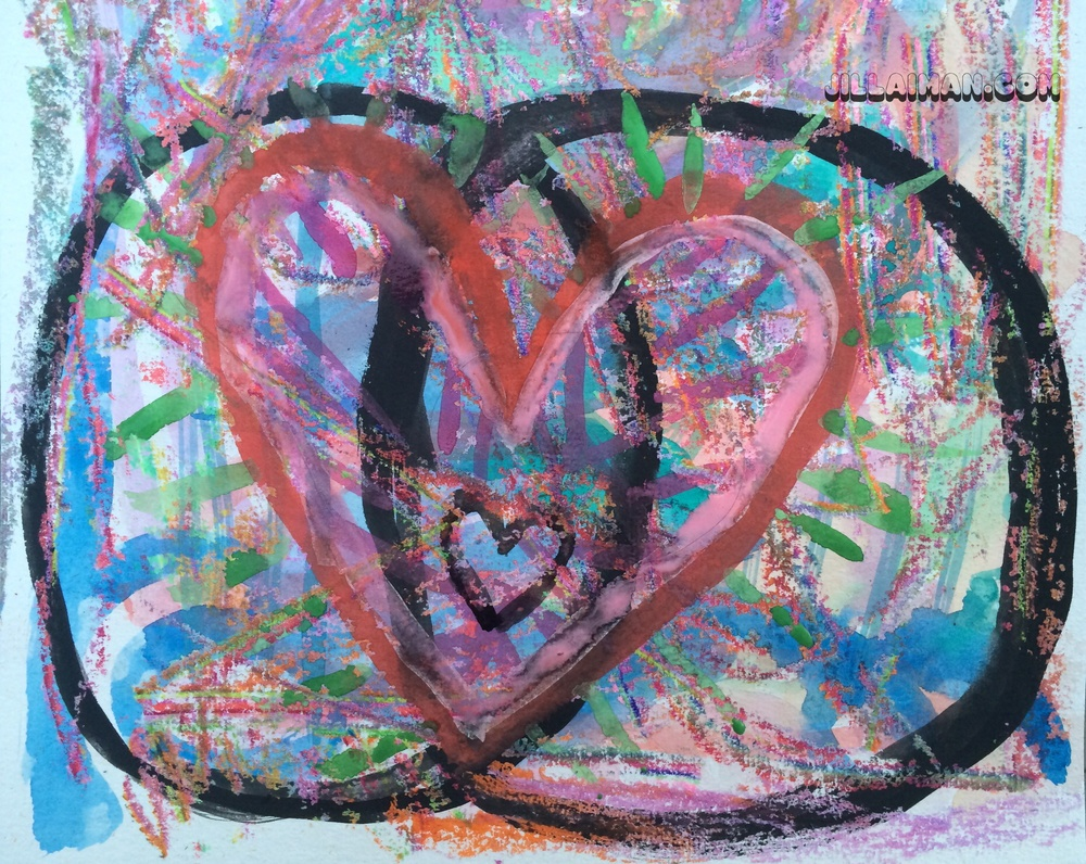 Painting with watercolor and crayon.  Mandorla with Hearts.  12 July 2014.  By Jill Lawrence.