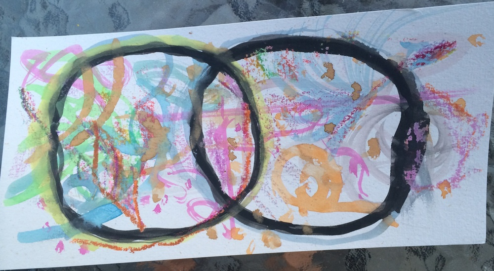Painting with watercolor and crayon.  Mini Mandorla.  12 July 2014.  By Jill Lawrence.