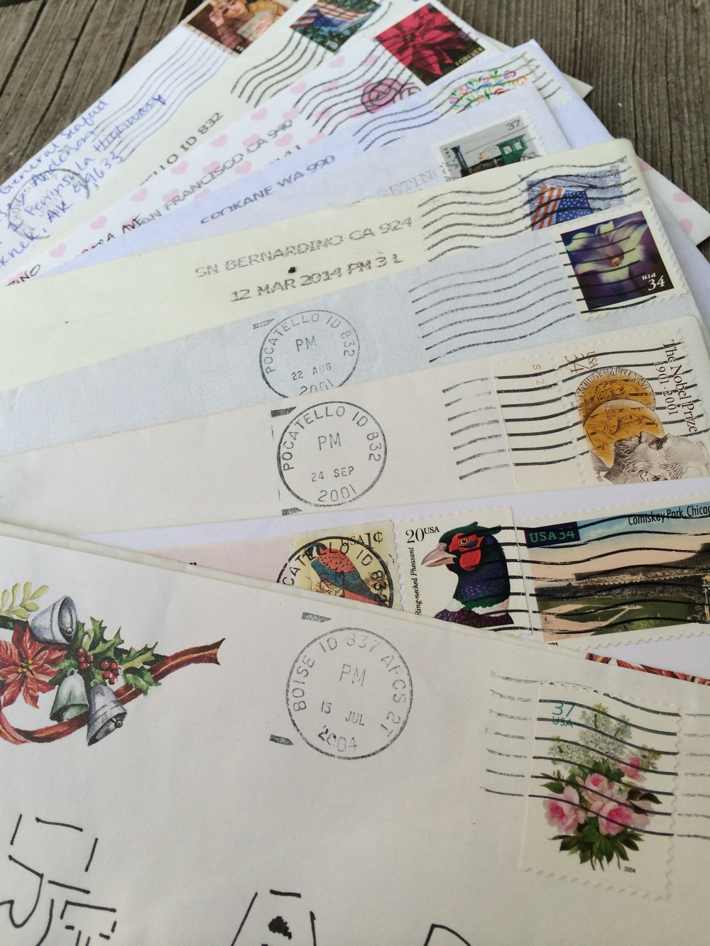 A smattering of saved envelopes that friends and family have written to me. 30 July 2014.