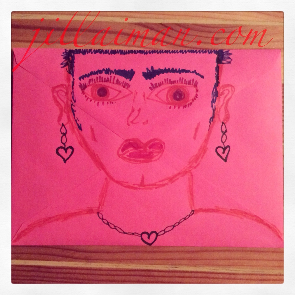 Envelope art. Kinda reminds me of Frida Kahlo, maybe it's the eyebrows? 1 March 2014.