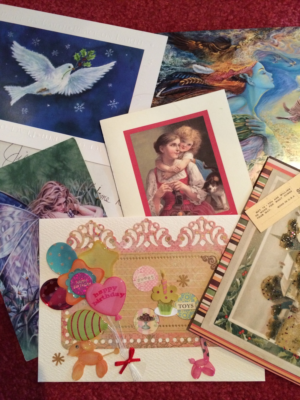 A smattering of cards that friends and family have mailed me. 30 July 2014.