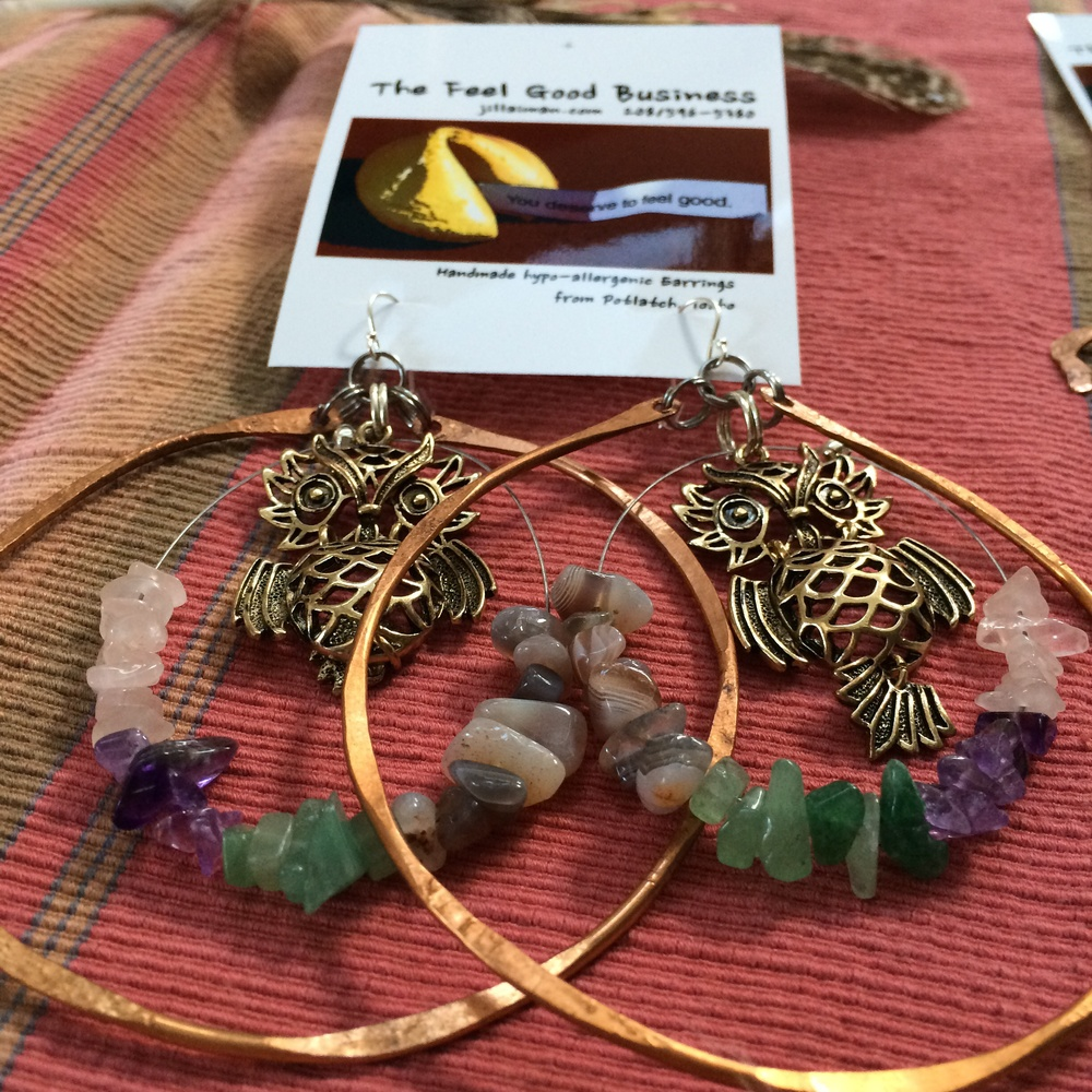 Copper hoops with hanging Owls and Gemstones:  Rose Quartz, Amethyst, Aventurine, and Agate.