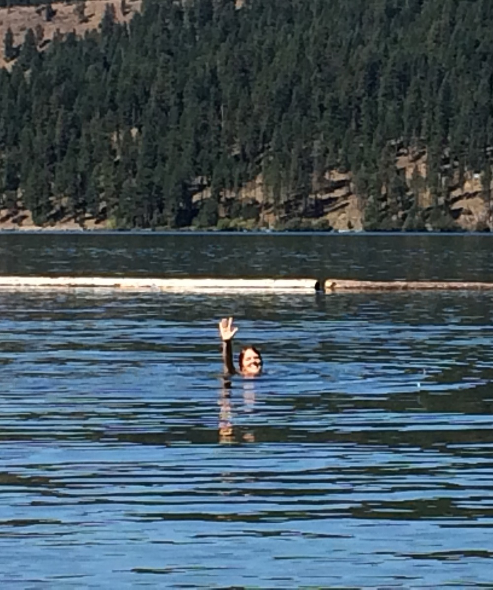 Jill takes a dip in Lake Chatcolet, Idaho. 6 September 2014.