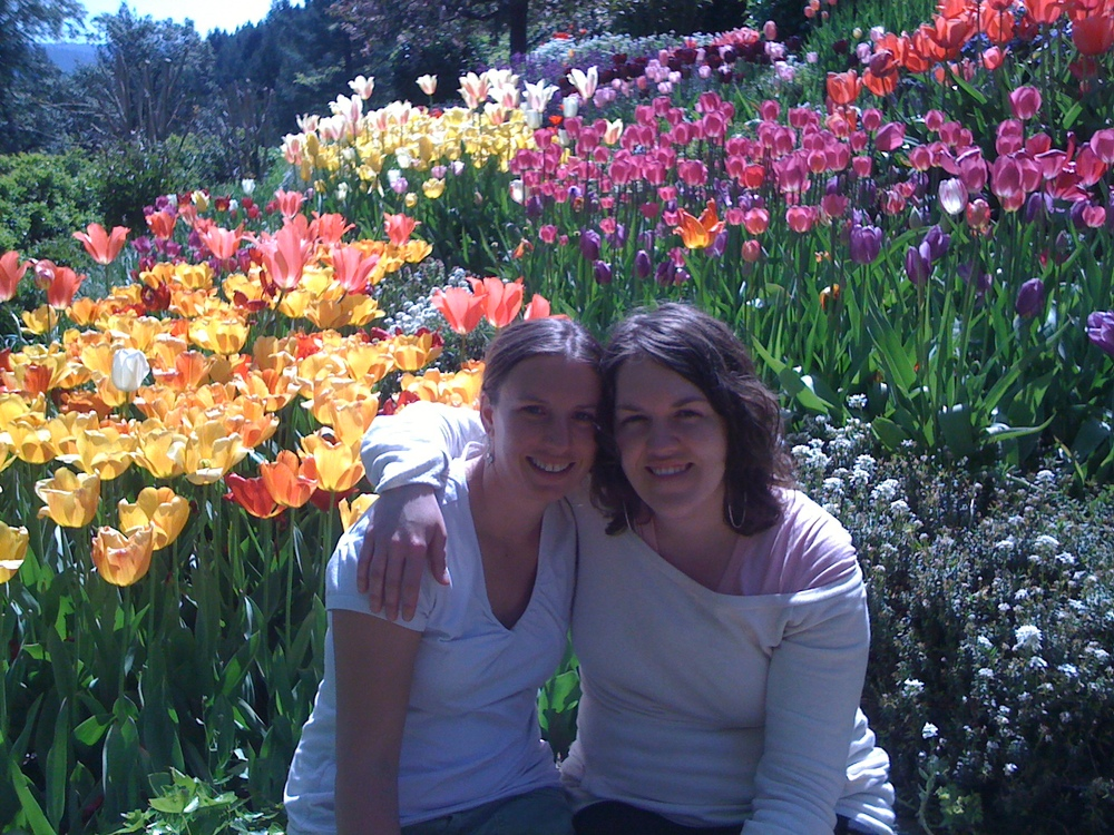 Molly and Jill spend time at the Ananda Tulip Gardens.  Nevada City, California.  25 April 2010.