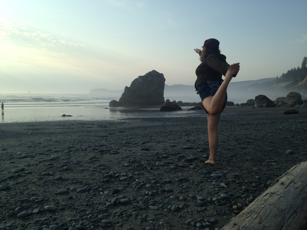 Jill in Natarajasana, Dancer Pose.  Ruby Beach, Olympic National Park.  August 2014.