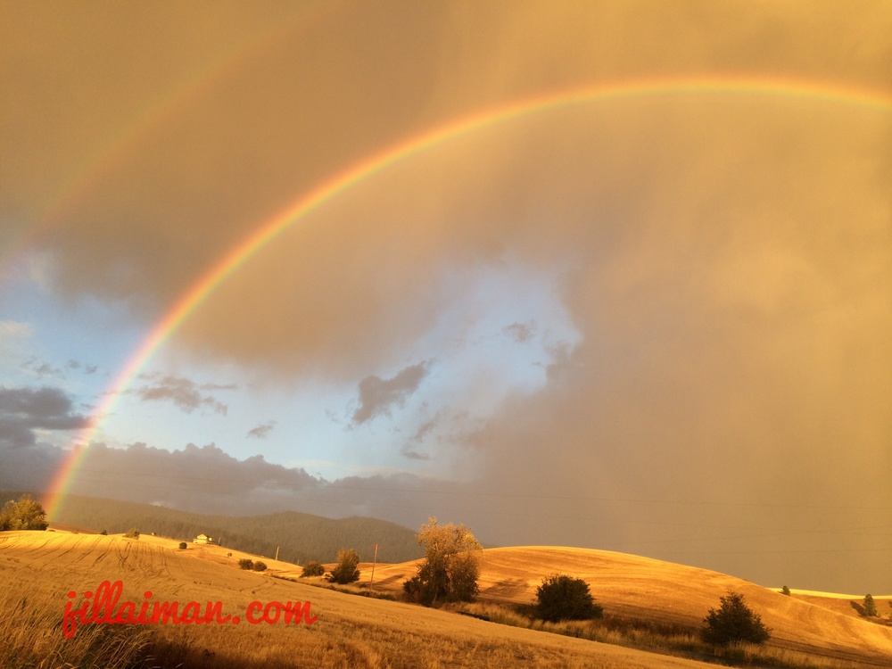 Double Rainbow.  30 September 2014.  Lewis Road.  Moscow, Idaho.