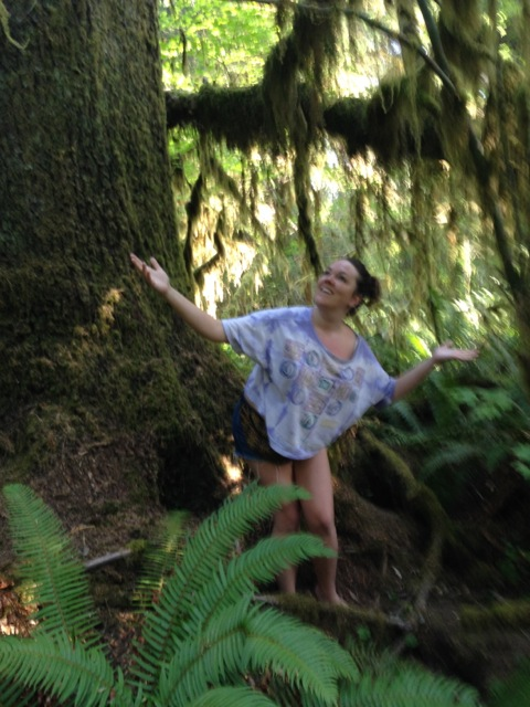 Jill  Plays  in the Hoh Rainforest, Olympic National Park.  August 2014.
