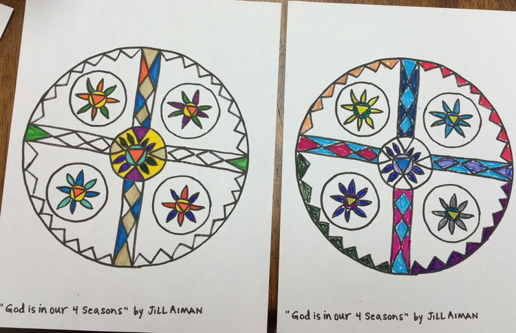 "The Creative Approach to Well-Being Session 4     Coloring Mandalas that Jill drew, ""God is in our 4 Seasons."" Kathy (right.) Jill (left.)"