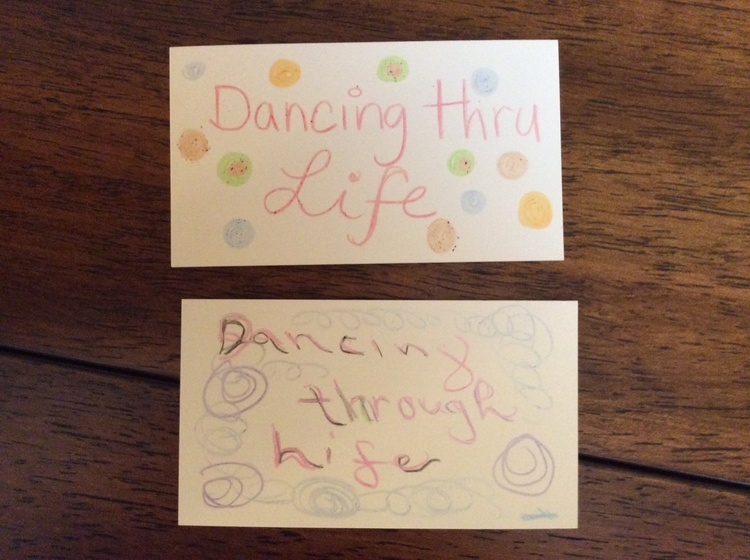 "The Creative Approach to Well-Being Session 6     Dancing Thru Life. We made these ""Dancing Thru Life"" cards to remind ourselves to embrace our creativity, by Dancing Thru Life. Dancing with Life. Top card by Jill. Bottom card by Kathy."