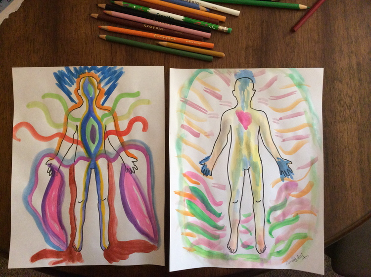 The Creative Approach to Well-Being Session 6     Dancing Thru Life. Figure Drawings. We used watercolor paint to color the figures at the end of our session. Left by Jill. Right by Kathy.